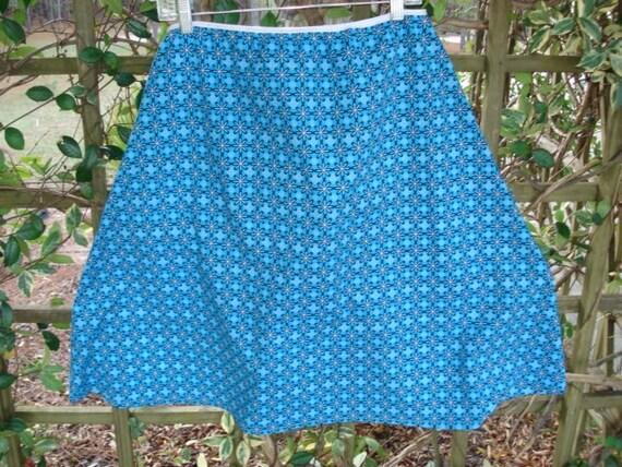 Womans Skirt  A-Line Turquoise Foulards Longer Length M/L