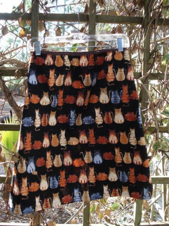 Womans Skirt A-Line Cats Print 29-32  Waist -Length Short Version