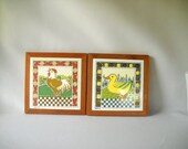Vintage Trivet Ceramic Tile Farm Animals Chicken Duck Bird Country Kitchen Cottage Decor Checkered