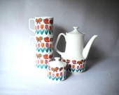 Vintage Tea Set Vintage Coffee Set Butterfly Tulip Mugs Coffee Pot Butterfly Tulip Coffeepot Cups