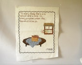 Vintage Needlepoint Bible Verses Cross Stitch Vintage Embroidery Pillow Top Cottage Chic Country Decor Religious