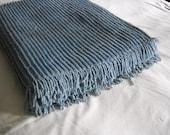 Vintage Chenille Bedspread  Blue Bedspread  Chenille Spread Cottage Decor Shabby Chic
