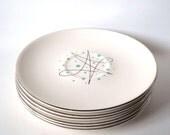 Vintage Saucers Atomic Teal Blue Plates Set of 6 Retro Space Age