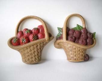 Vintage Wall Hangings Berry Basket Plastic Wall Plaques Strawberries Raspberries Burwood Plaques