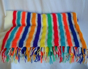 Vintage Blanket Vintage Afghan Blanket  Striped Throw Checkered Blanket Bold  Bright Colors