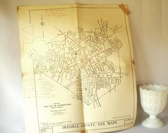 Vintage Map Voting Precinct Map Paper Ephemera Political Collectible Statesville Iredell County North Carolina USA Map