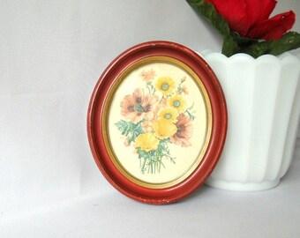 Vintage Print Oval Frame Floral Bouquet Framed Print Shabby Chic Botanical Flowers