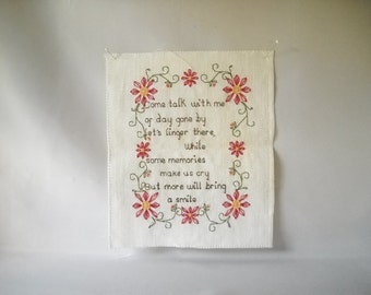 Vintage Sampler Vintage Needlepoint Cross Stitch Pillow Top Cottage Chic Red Flowers