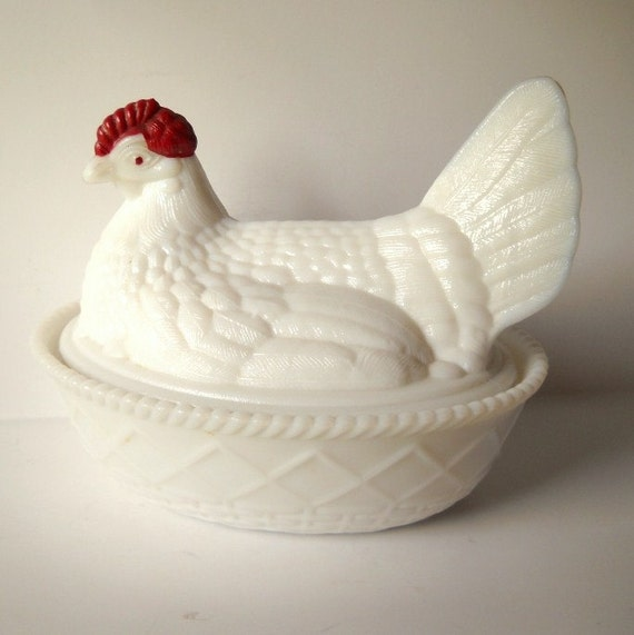 Westmoreland Milk Glass Nesting Hen Dish By Vintageeye On Etsy