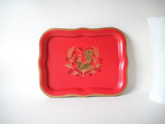 Vintage Maxey Peacock Serving Trays Red Gold Bird Swedish Modern Mid Century Modern Metal