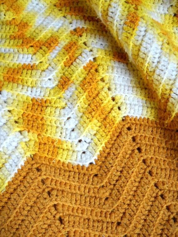 Vintage Afghan Mustard Yellow 1970s Blanket Crochet Afghan Chevron Stripe Retro Decor Hippie Chic Boho Decor