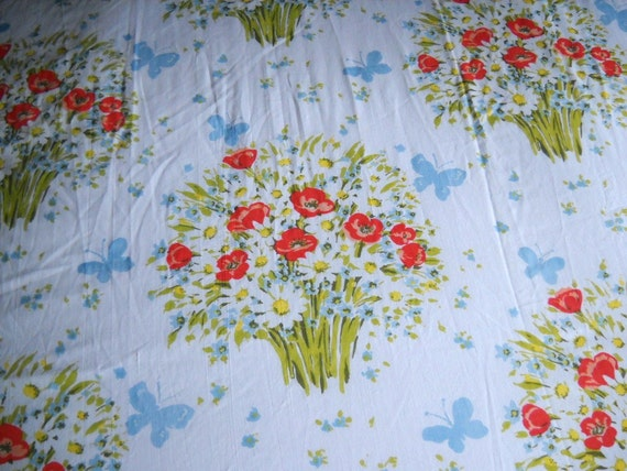 Vintage Botanical Bedsheet Retro Flower Sheet Bedding
