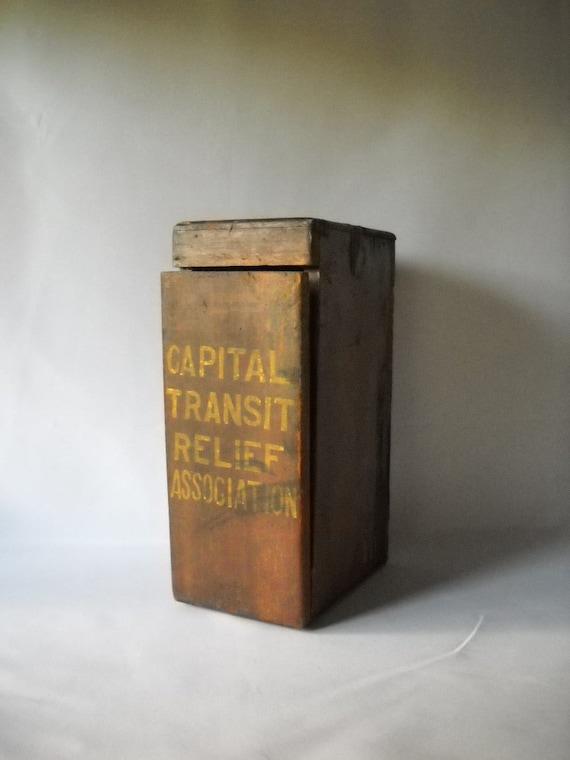 Vintage Wooden Box Antique Donation Box Rustic Wooden Box