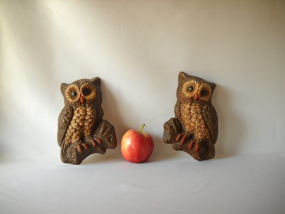 Vintage Owl Figures Wall Hangings Kitsch Decor Bird Nature Rustic Decor Forest Creatures Man Cave
