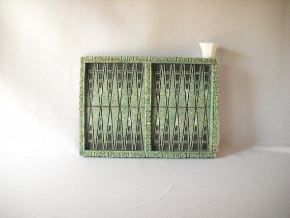 Vintage Backgammon Board Game Board Green Stone Carved Tribal Mayan