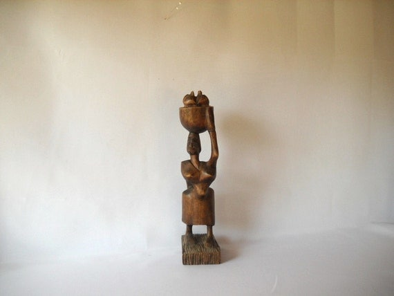 Vintage Primitive Figure Wooden Figurine Woman Figure Abstract  African Tribal Carved Figure Female Form