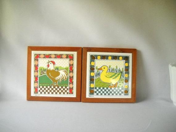 Items Similar To Vintage Trivet Ceramic Tile Farm Animals