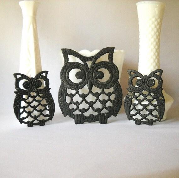 Vintage Trivets Cast Iron Owl Trivets Set of 3 Retro Kitchen