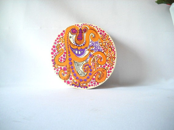 """Vintage Jigsaw Puzzle Sandy Miller Thingie Puzzle Tiger Lily 7"""" Round Puzzle Springbok 1968 Complete"""