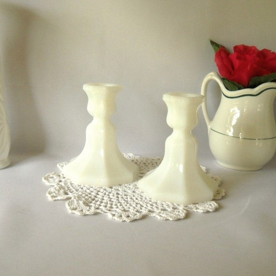 RESERVED for Ashlee Meyer Vintage Candlesticks White Milk Glass Candleholders Traditional Cottage Chic