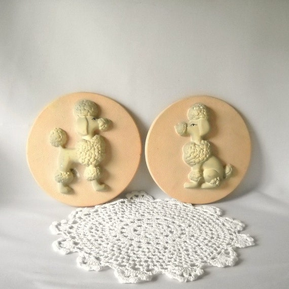 Vintage Chalkware Poodle Wall Plaques Chalkware Plaques Wall Hangings French Poodle Dogs