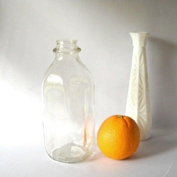 Vintage Bottle Milk Bottle Rustic Farmhouse Cottage Chic Flower Vase 1950s