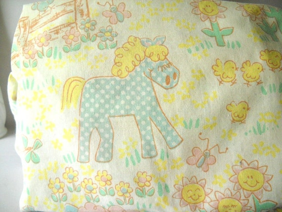 Vintage Crib Sheet Farm Child's Room Baby Nursery Decor Kids Animals Pig Sheep Horse Duck