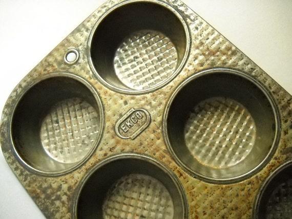 Vintage Muffin Tin Ekco Ovenex Muffin Tin Waffle Tin Baking Cooing Kitchen Bakeware