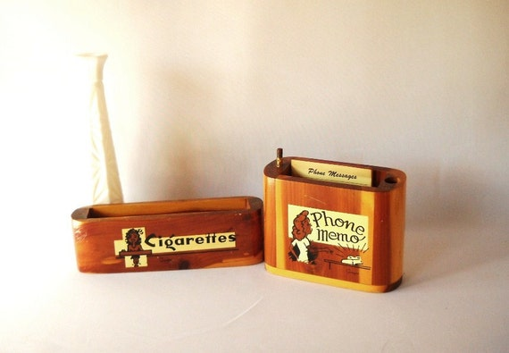 Vintage Wood Box Phone Message Box Cigarette Box Desk Set