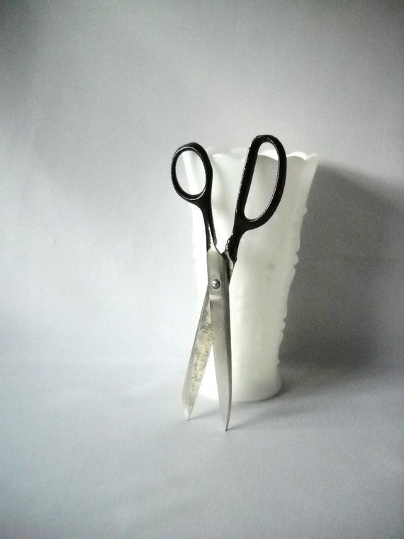 Vintage Scissors Vintage Shears Industrial Chic Old School Scissors Sewing Supplies Black Handle Scissors
