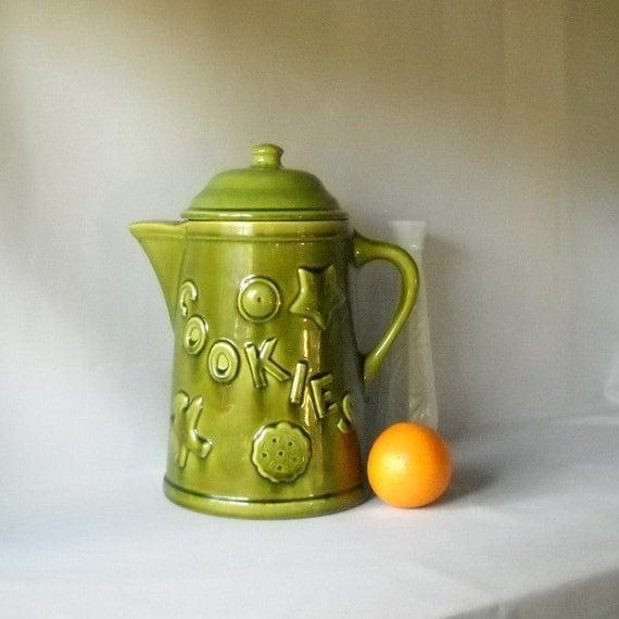 Vintage Cookie Jar Canister Avocado Green Ceramic Jar Groovy 1970s Kitchen Kitsch