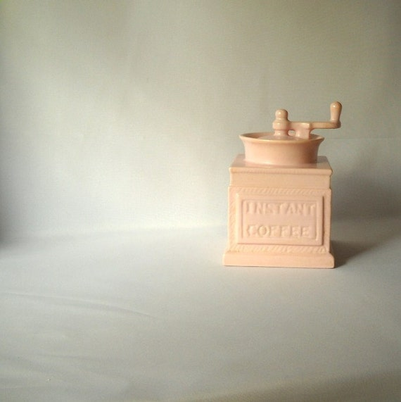 Vintage Coffee Canister Instant Coffee Pink Ceramic Jar  Kitsch Kitchen Decor Faux Bois