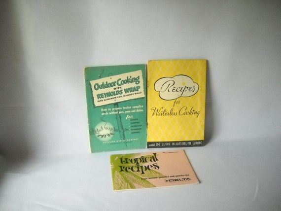 Vintage Recipe Books Outdoor Cooking Tropical Recipes Set of 3 Summer Picnic Patio Dining