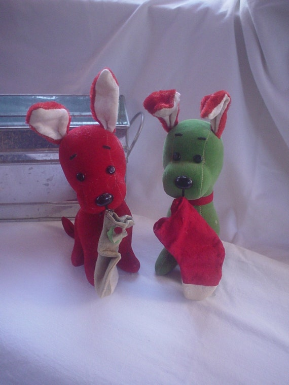 Pair of Vintage Christmas Stuffed Dogs