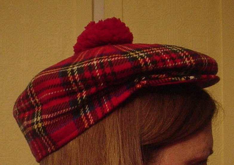 Vintage Red Plaid Tam O Shanter Newsboy Golf Cap Hat