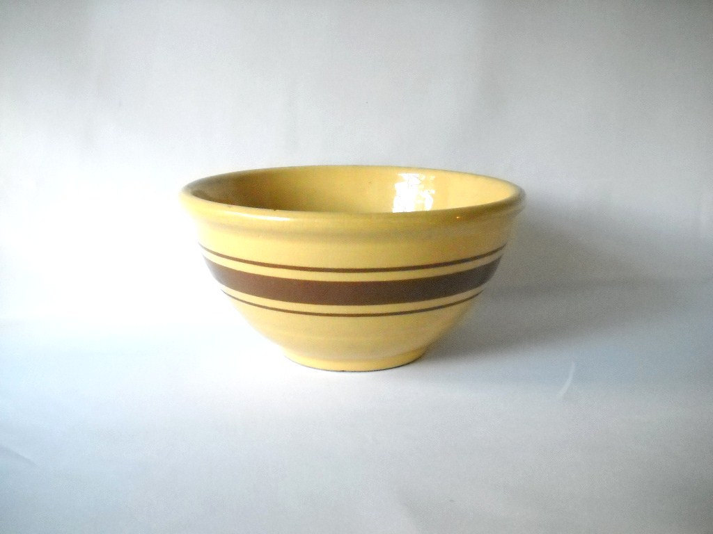 Vintage Yellow Ware Bowl Stoneware Mixing Bowl Brown Striped