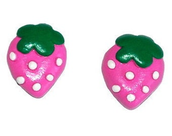 Pink Strawberry Stud Earrings
