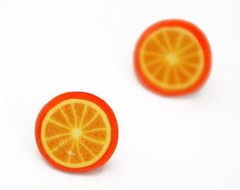 Orange stud earrings