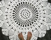 """Ecru Off White Cotton Crochet Doliy Rug 42"""" Circle Pineapple Lacy Pattern Non Skid"""