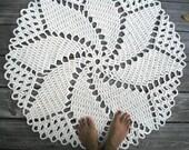 """Crochet Rug in Ecru Off White Cotton 33"""" Spiral Pattern Non Skid"""