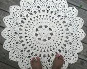 "White, Off White or Black Cotton Crochet Doily Rug 30"" Non Skid"