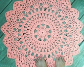"""Orange Cotton Crochet Doily Rug in 30"""" Circle Lacy Pattern Non Skid"""
