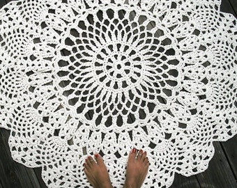"Ecru Off White Cotton Crochet Doliy Rug 42"" Circle Pineapple Lacy Pattern Non Skid"