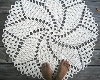 "Crochet Rug in Ecru Off White Cotton 33"" Spiral Pattern Non Skid"