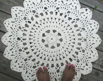 "White, Off White or Black Cotton Crochet Doily Rug 30"" Non Skid"