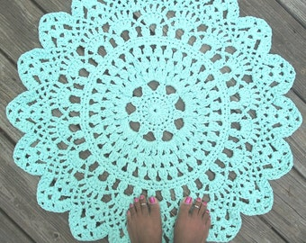 "Robins Egg Blue Cotton Crochet Doily Rug 30"" Non Skid"