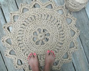 "Jute Cord Round Crochet Rug Doily 28"""