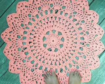 "Orange Cotton Crochet Doily Rug 30"" Non Skid"