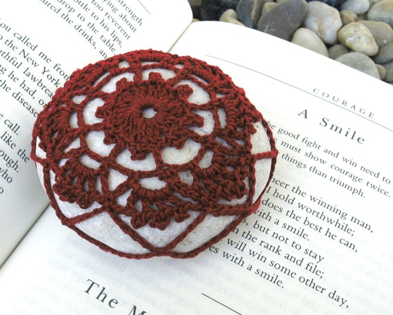 RESERVED for Lois - White River Stone with Red Crochet from Nice France Paperweight  No. 004