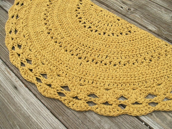 Mustard Yellow Cotton Crochet Rug In Half Circle Non Skid